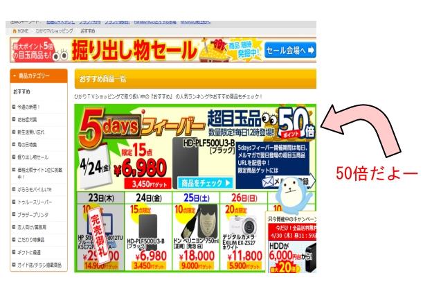 ひかりTVショッピング ポイント50倍セー